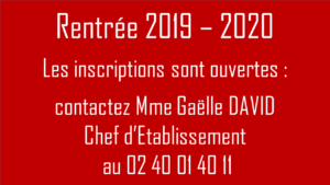 Inscriptions Rentrée 2019 Ecole Saint Joseph de Saint Gildas des Bois - 44