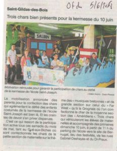 Article journal OF 05-06-2018 Kermesse - Ecole Saint Joseph de Saint Gildas des Bois
