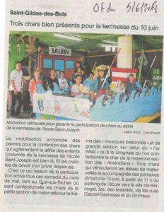 Article journal OF 05-06-2018 Kermesse - Ecole Saint Joseph de Saint Gildas des Bois