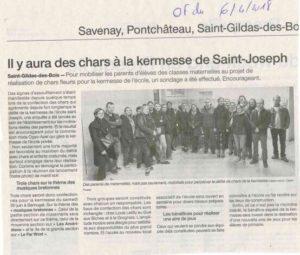 Article journal OF 06-04-2018 Kermesse - Ecole Saint Joseph de Saint Gildas des Bois - 44
