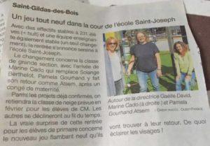 Article journal OF 08-09-2018 Equipe éducative - Ecole Saint Joseph de Saint Gildas des Bois - 44