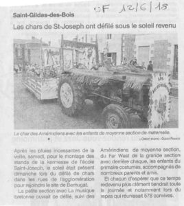 Article journal OF 12-06-2018 Kermesse - Ecole Saint Joseph de Saint Gildas des Bois - 44