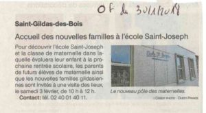 Article journal OF 30-01-2018 OGEC - Ecole Saint Joseph de Saint Gildas des Bois - 44