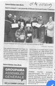 Article journal OF 12-03-2019 Histoire de l'école - Ecole Saint Joseph de Saint Gildas des Bois - 44