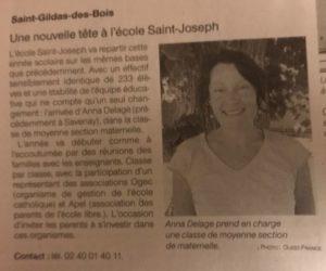 Article journal OF 02-09-2019 Nouvelle enseignante - Ecole Saint Joseph de Saint Gildas des Bois - 44