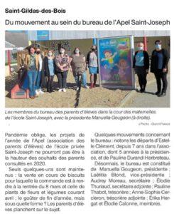 OF 02-03-2021 Renouvellement bureau APEL - Ecole Saint Joseph - Saint Gildas des Bois 44